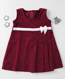Mom's Girl Dotted Corduroy Dress - Maroon