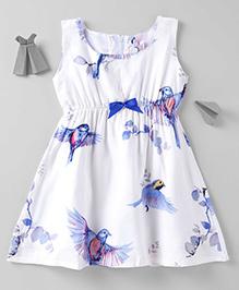 Mom's Girl Birds Printed Dress - White