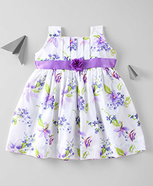 Mom's Girl Soft Cotton Floral Printed Dress - White & Purple