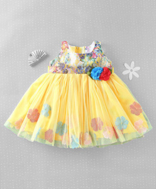 Mom's Girl Floral Soft Netted Dress - Yellow