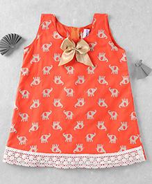 Mom's Girl Elephant Printed A-Line Dress With Bow - Orange