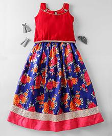 Mom's Girl Beautiful Lehenga Choli Set- Red & Blue