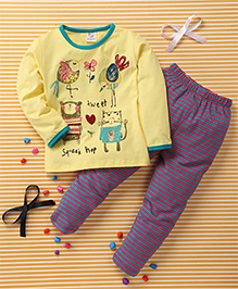 Huali Kids Sparrow Print T-Shirt & Pant Set -Yellow