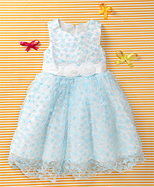 MFM Attractive Flower Print Party Dress - Blue & White