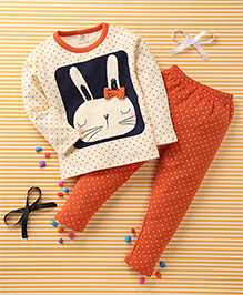 Huali Kids Rabbit & Dot Print T-Shirt & Pant Set - Orange