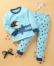 Huali Kids Triangle & Animal Print T-Shirt & Pant Set - Blue