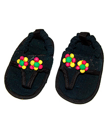 SnugOns Baby SlipOns With Flower Design - Black