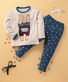 Huali Kids Bear Print T-Shirt & Pant Set - Cream & Blue