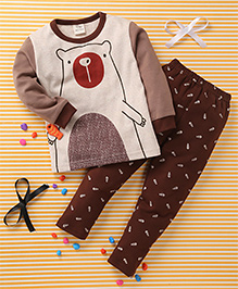Huali Kids Animal Print T-Shirt & Pant Set - Brown