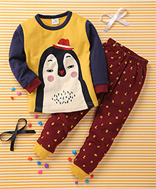 Huali Kids Animal Face Print Tee & Legging Set - Yellow & Maroon