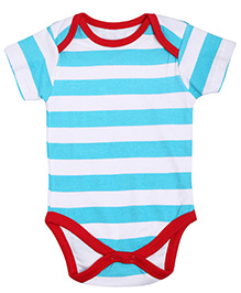 NeedyBee Short Sleeves Onesie Stripes Pattern - White And Blue