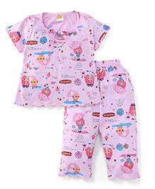Little Half Sleeves Printed Night Suit - Light Pink
