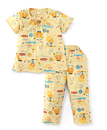 Little Half Sleeves Printed Night Suit - Light Yellow