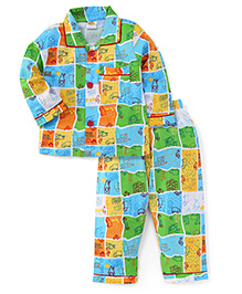 Little Half Sleeves Vehicle Printed Night Suit - Multi Color Blue