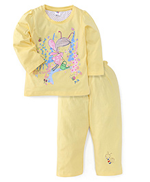 Paaple Full Sleeves Printed Night Suit - Yellow
