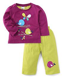 Paaple Full Sleeves Night Suit Birds Print - Purple & Lime Green