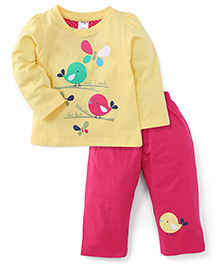 Paaple Full Sleeves Night Suit Birds Print - Yellow Pink