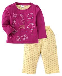 Paaple Full Sleeves Night Suit Winter Princess Print - Purple & Yellow