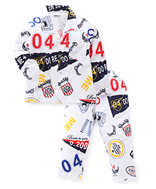Doreme Full Sleeves Printed Night Suit - White & Navy Blue