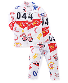 Doreme Full Sleeves Printed Night Suit - White & Red