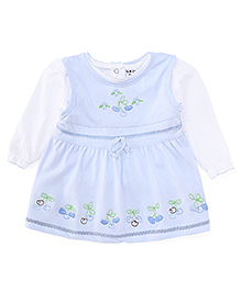 Doreme Embroidered Frock With Inner Tee - Sky Blue