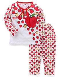 Doreme Full Sleeves Night Suit Apple Print - White & Red