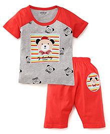 Doreme Half Sleeves Night Suit Teddy Print - Coral And Grey