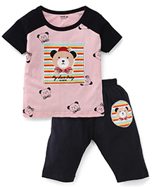 Doreme Half Sleeves Night Suit Teddy Print - Light Pink And Navy