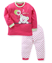 Doreme Full Sleeves Night Suit Teddy And Balloon Print - Pink White