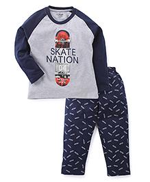 Doreme Full Sleeves Night Suit Skate Nation Print - Grey & Navy Blue