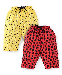 Doreme Printed Drawstring Capri Set Red Yellow - Pack Of 2