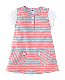 Zero Short Sleeves Striped Frock - Pink & Grey