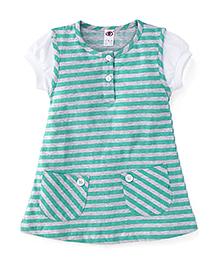 Zero Short Sleeves Striped Frock - Green & Grey