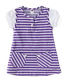 Zero Short Sleeves Striped Frock - Purple & Grey