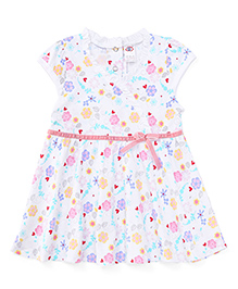 Zero Cap Sleeves Frock Floral And Heart Print - Pink White