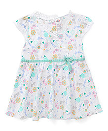 Zero Cap Sleeves Frock Floral And Heart Print - Green White