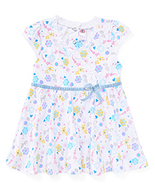 Zero Cap Sleeves Frock Floral And Heart Print - Blue White