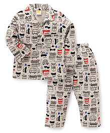Little Full Sleeves Night Suit Allover Vehicle Print - Off White