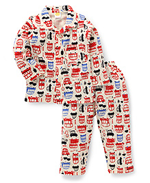 Little Full Sleeves Night Suit Allover Vehicle Print - Cream & Red