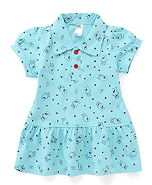 Paaple Collar Neck Frock Allover Print - Aqua Blue