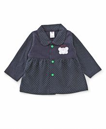 Paaple Full Sleeves Dotted Frock - Navy