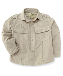 Olio Kids Full Sleeves Soild Colour Shirt - Beige