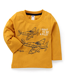 Paaple Full Sleeves T-Shirt Aircraft And Pilot Print - Yellow
