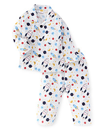 Little Full Sleeves Night Suit Planets & Spaceship Print - White