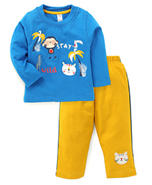 Paaple Full Sleeves T-Shirt And Track Pant Stay Wild Print - Blue And Yellow