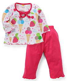 Paaple Full Sleeves Top and LeggingsNight Suit Set Ice Cream Print - White Pink