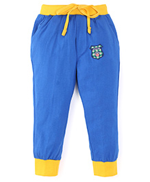 Olio Kids Printed Track Pants With Drawstring Sports 83 Patch - Royal Blue Yellow