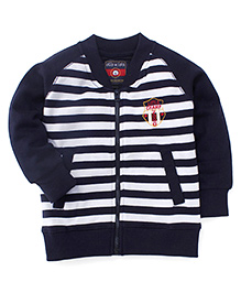 Olio Kids Raglan Sleeves Stripe Sweat Jacket Little Champ Embroidery - Navy White