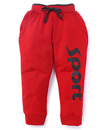 Olio Kids Track Pants With Drawstring Sport Print - Red
