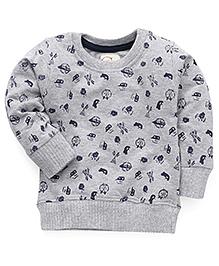 Olio Kids Full Sleeves Pullover Sweatshirt Anchor Print - Grey